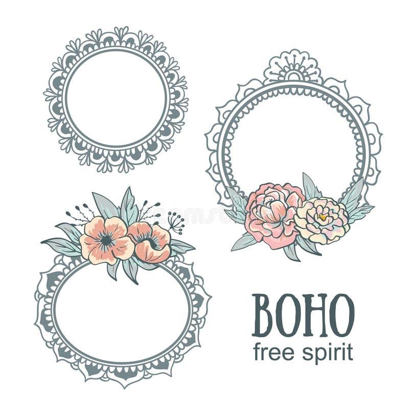 Ensemble de vues ornementales de style de Boho avec des fleurs illustration libre de droits
