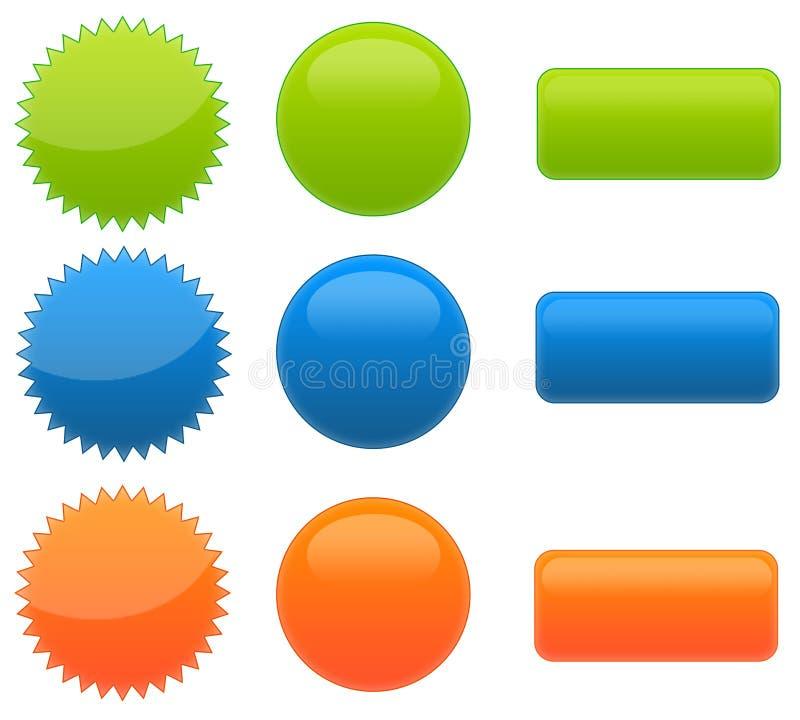 Ensemble de Web 9 2.0 boutons lustrés photo stock