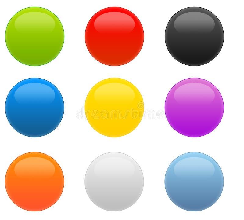 Ensemble de Web 9 2.0 boutons lustrés circulaires illustration libre de droits