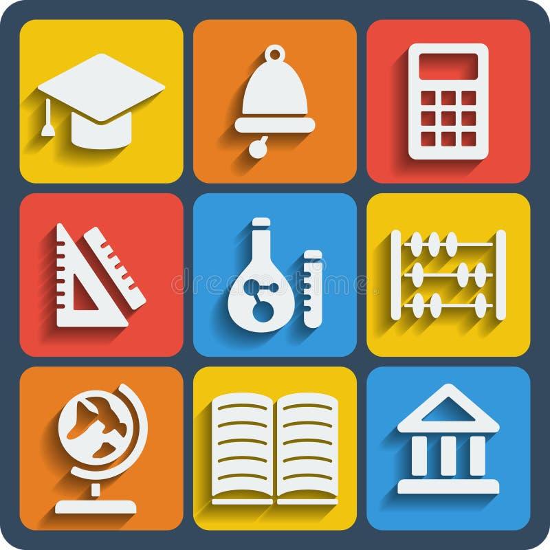 Ensemble de Web de 9 écoles et d'icônes mobiles Vecteur illustration de vecteur