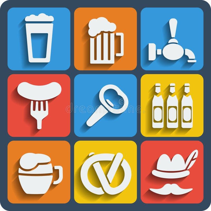 Ensemble de Web de 9 bières et d'icônes mobiles Vecteur illustration libre de droits