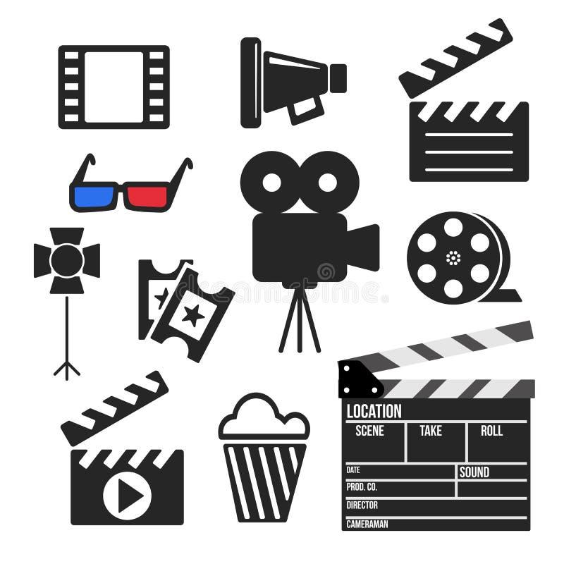 Ensemble de Web de cinéma et d'icônes mobiles Vecteur illustration libre de droits