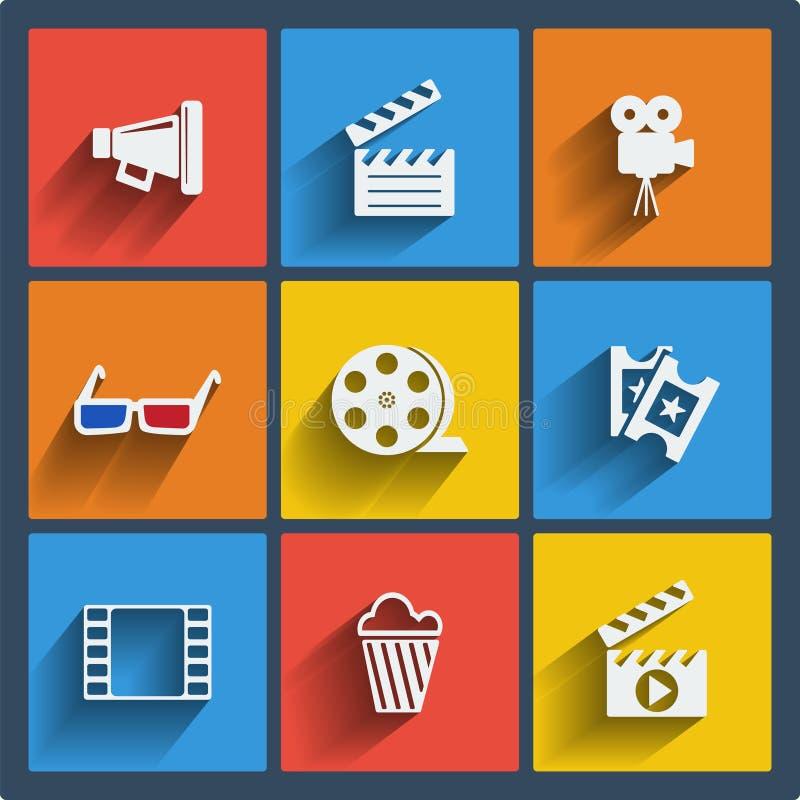 Ensemble de Web de 9 cinémas et d'icônes mobiles. Vecteur. illustration libre de droits