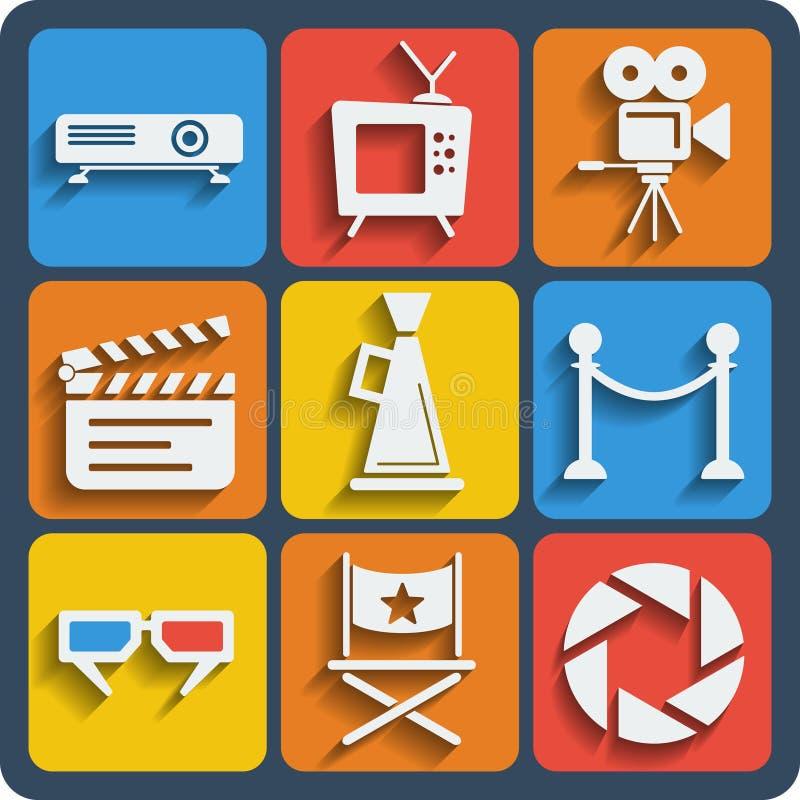 Ensemble de Web de 9 cinémas et d'icônes mobiles Vecteur illustration de vecteur