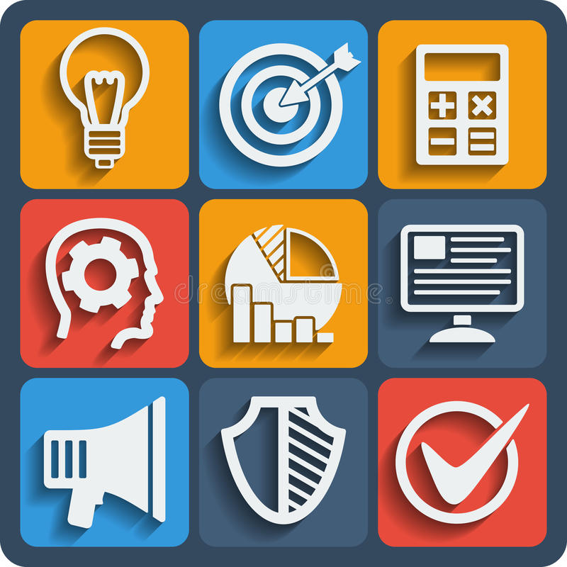 Ensemble de Web de 9 développements et d'icônes mobiles Vecteur illustration libre de droits