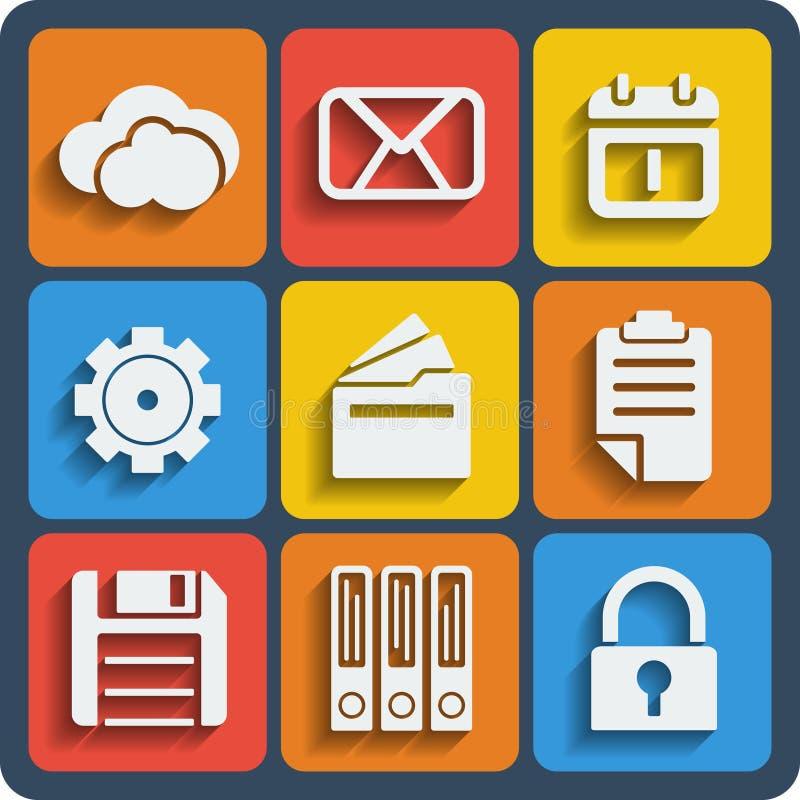 Ensemble de Web de 9 dossiers et d'icônes mobiles Vecteur illustration de vecteur