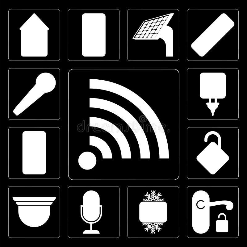 Ensemble de Wifi, poignée, fraîche, contrôle de voix, caméra de sécurité, Locke illustration libre de droits