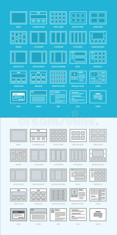 Ensemble de wireframes de site Web illustration libre de droits