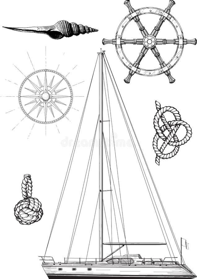 Ensemble de yacht illustration stock