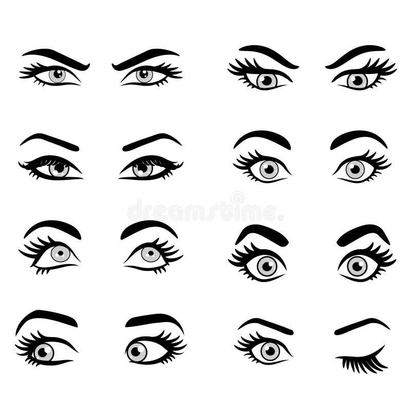 Ensemble de yeux de dessin anim illustration de vecteur illustration du fille dame 74250169 - Dessin yeux facile ...