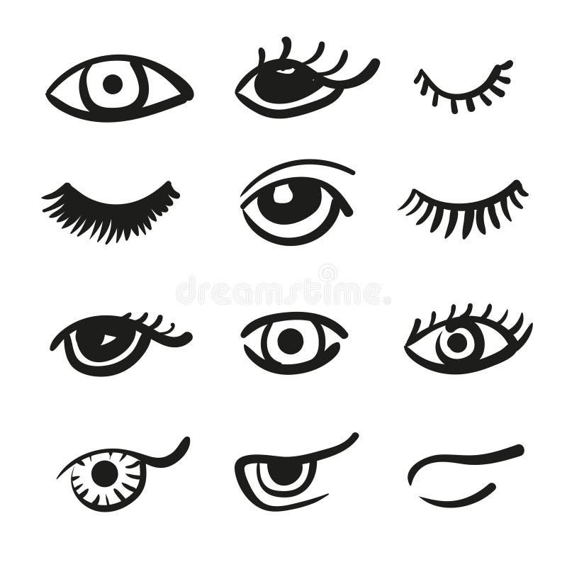 Ensemble de yeux et de mèches de griffonnage illustration stock