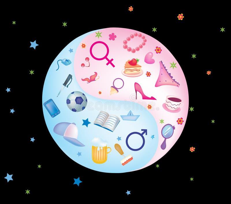 Ensemble de yin yang des accessoires des hommes et des femmes illustration stock