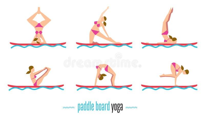 Ensemble de yoga de panneau de palette, illustration de vecteur illustration libre de droits