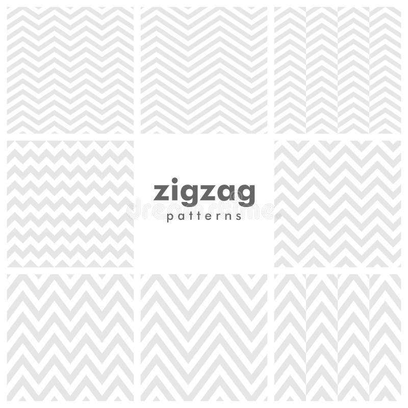 Ensemble de zigzag et de modèles sans couture en arête de poisson illustration de vecteur
