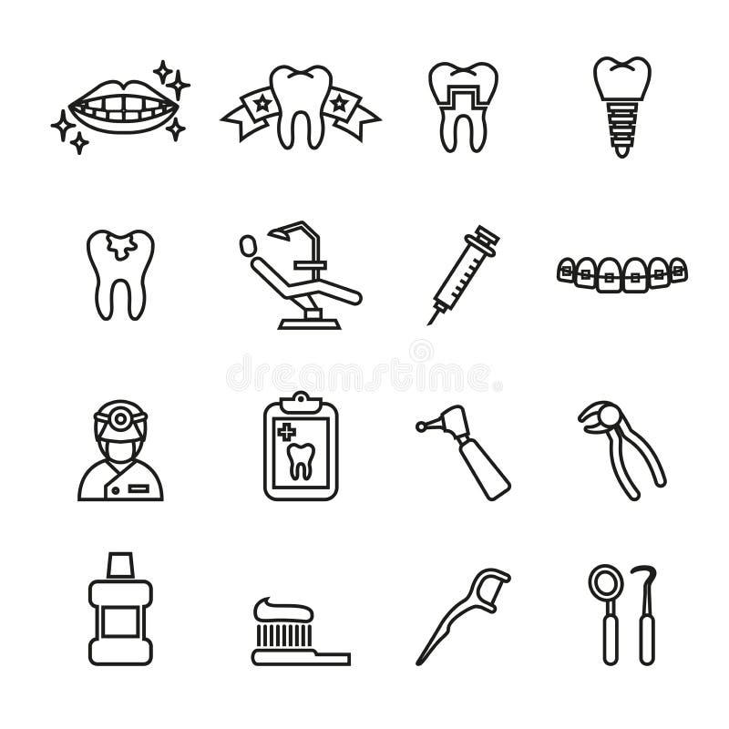 Ensemble dentaire et médical d'icône Ligne vecteur d'actions de style images libres de droits