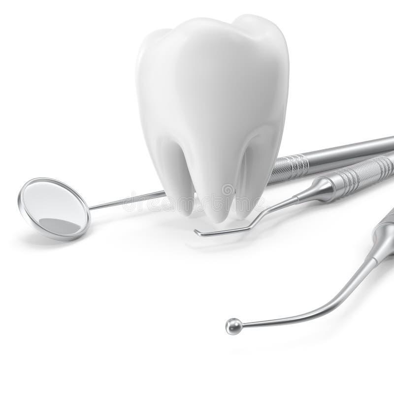 Ensemble dentaire, miroir, sonde, avec la dent, soin de concept d'isolement sur le fond blanc, rendu 3D illustration de vecteur