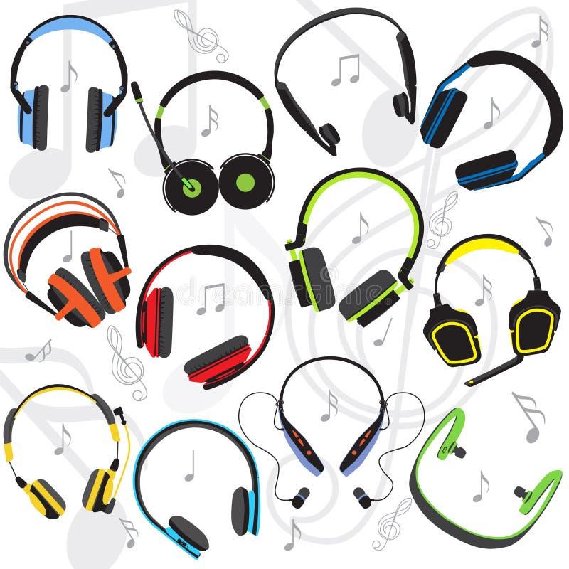 Ensemble des écouteurs colorés par appartement illustration de vecteur