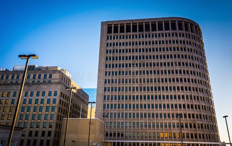 Ensemble des bâtiments, vu du haut du centre de la ville Parki images stock