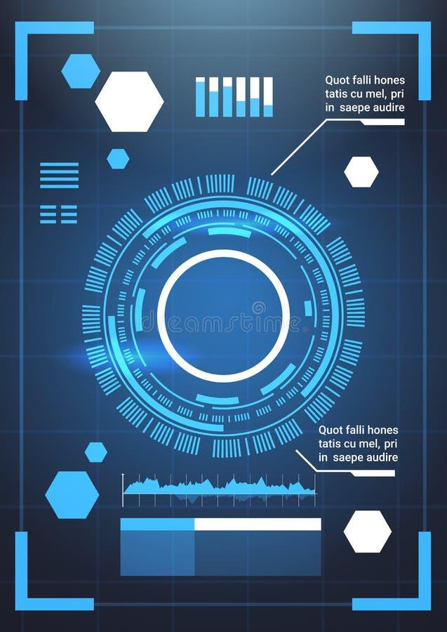 Ensemble des diagrammes de calibre de fond d'abrégé sur technologie d'éléments d'Infographic et du graphique futuristes modernes, illustration libre de droits