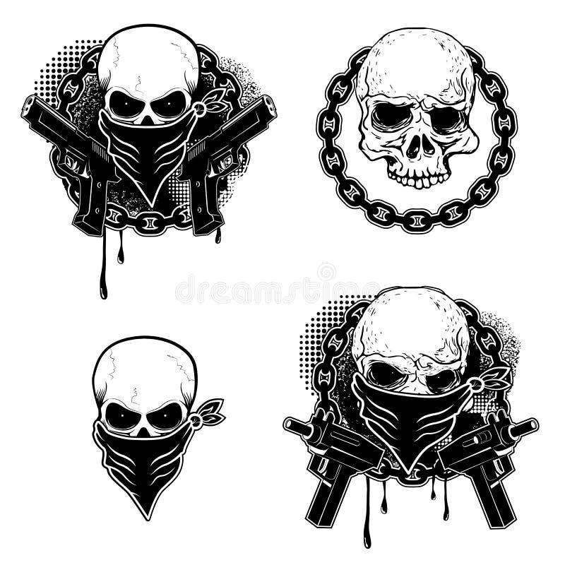 Ensemble des emblèmes de crâne de gangsta illustration stock