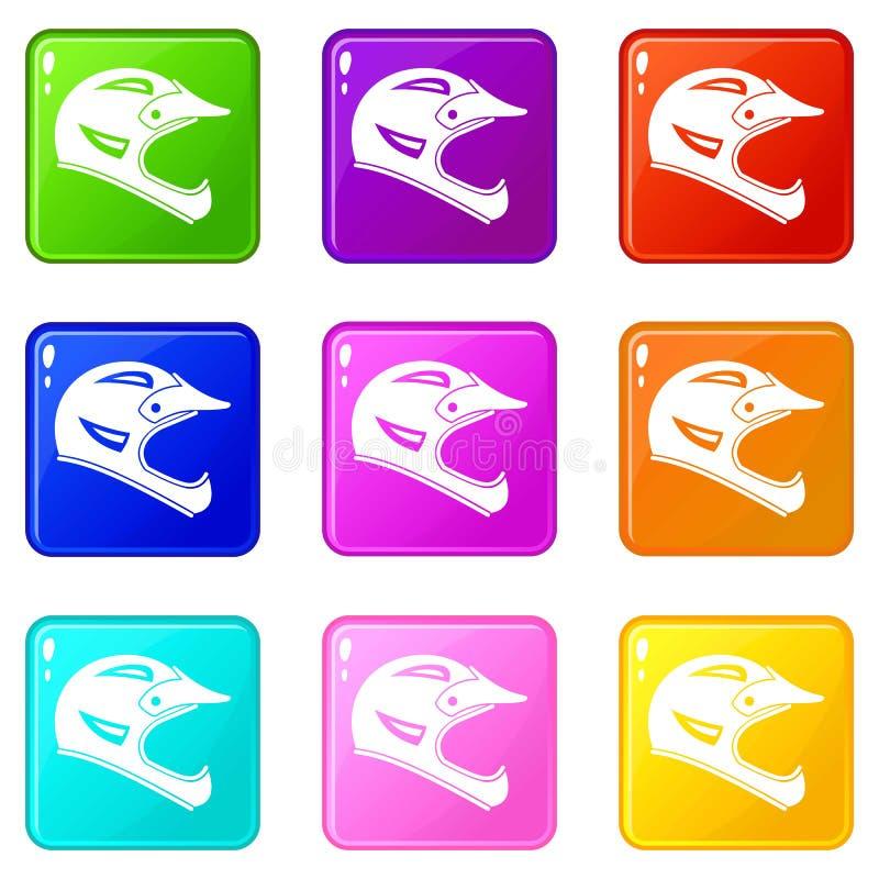 Ensemble des icônes 9 de casque de bicyclette illustration libre de droits