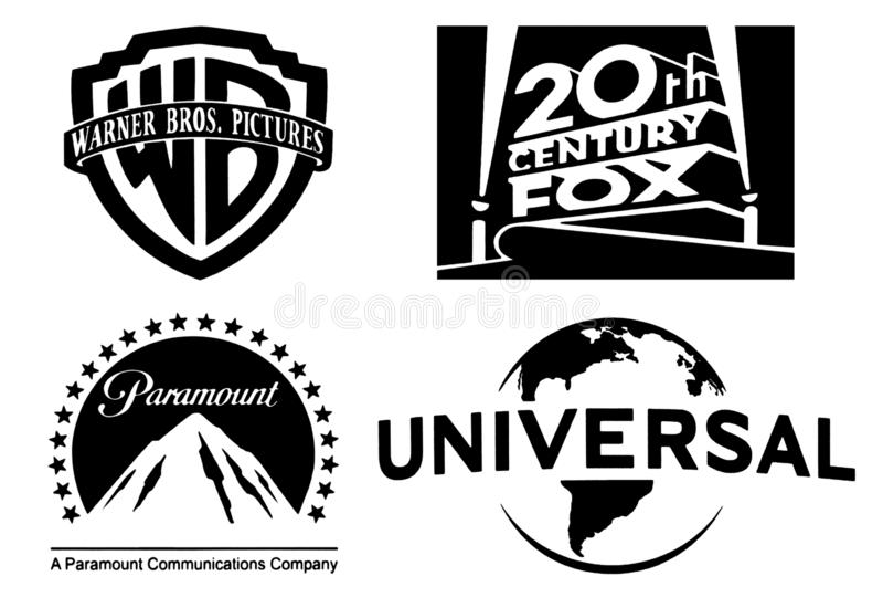 Ensemble des logos de studios cinématographiques les plus célèbres illustration stock