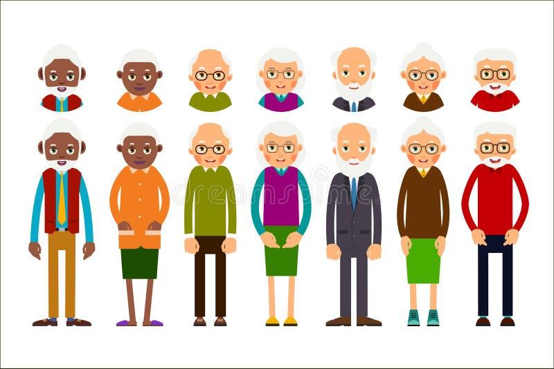 Ensemble des personnes âgées diverses avec des avatars d'isolement sur le CCB blanc illustration libre de droits