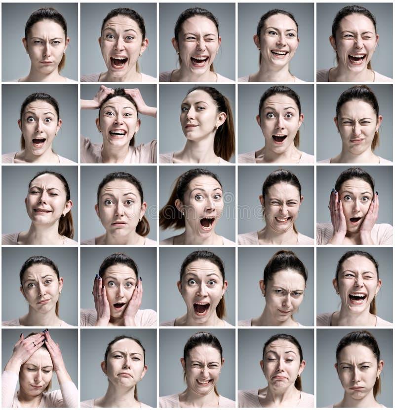 Ensemble des portraits de la jeune femme avec différentes émotions photos stock