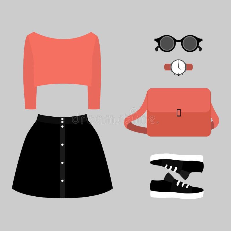 Ensemble des vêtements des femmes à la mode Équipement de jupe, de pull et d'accessoires de femme photos stock