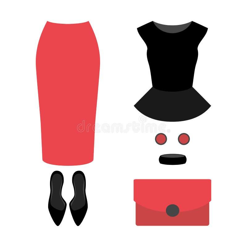 Ensemble des vêtements des femmes à la mode avec la jupe, le dessus et l'accesso de corail illustration de vecteur