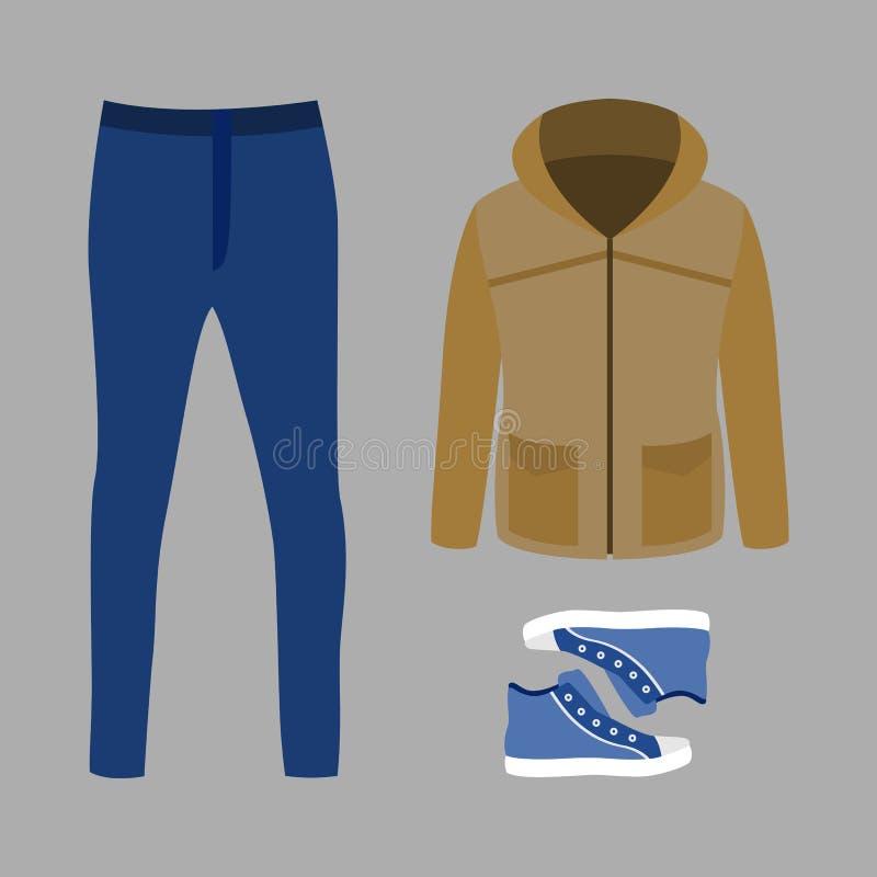 Ensemble des vêtements des hommes à la mode avec la parka, les jeans et les espadrilles photo libre de droits