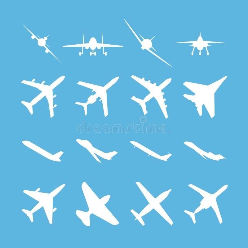 Ensemble différent d'icône de vecteur d'avions illustration stock