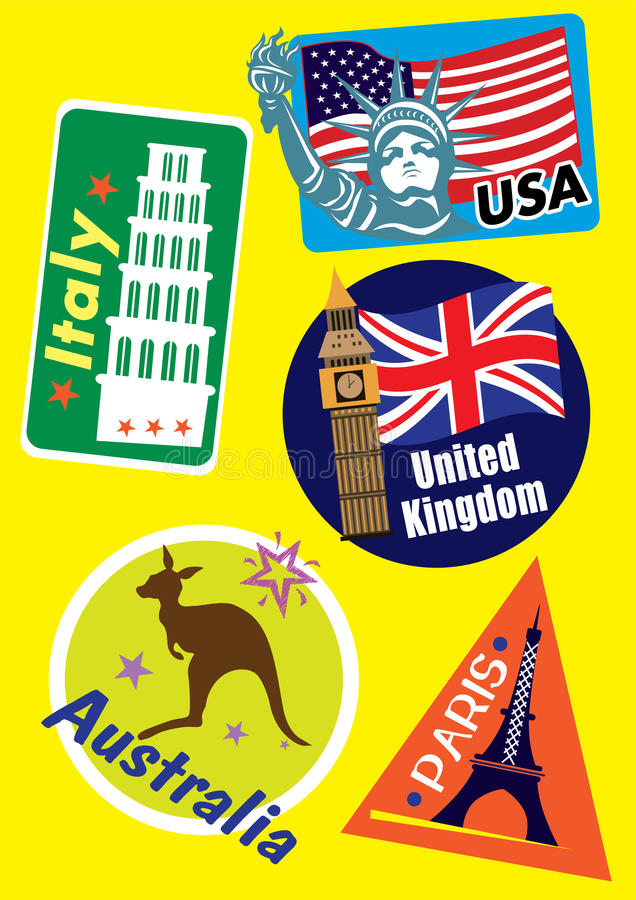 Ensemble différent d'icône de voyage de pays illustration libre de droits