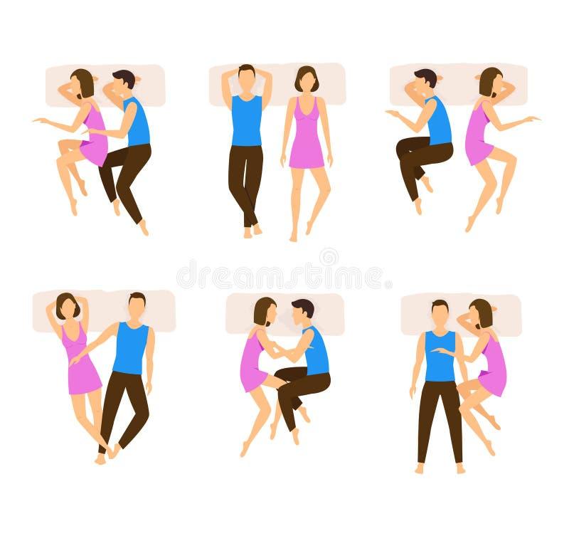 Ensemble différent de couples de poses de sommeil Vecteur illustration de vecteur