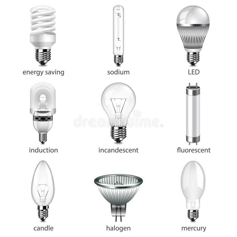 Ensemble différent de vecteur d'icônes d'ampoules illustration libre de droits