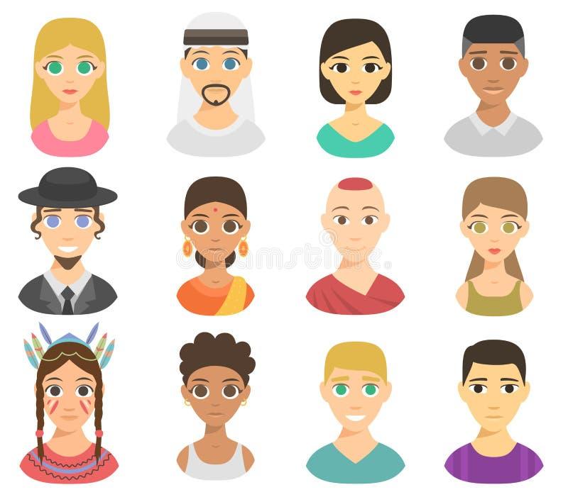 Ensemble différent de vecteur de portraits de personnes de nations illustration stock