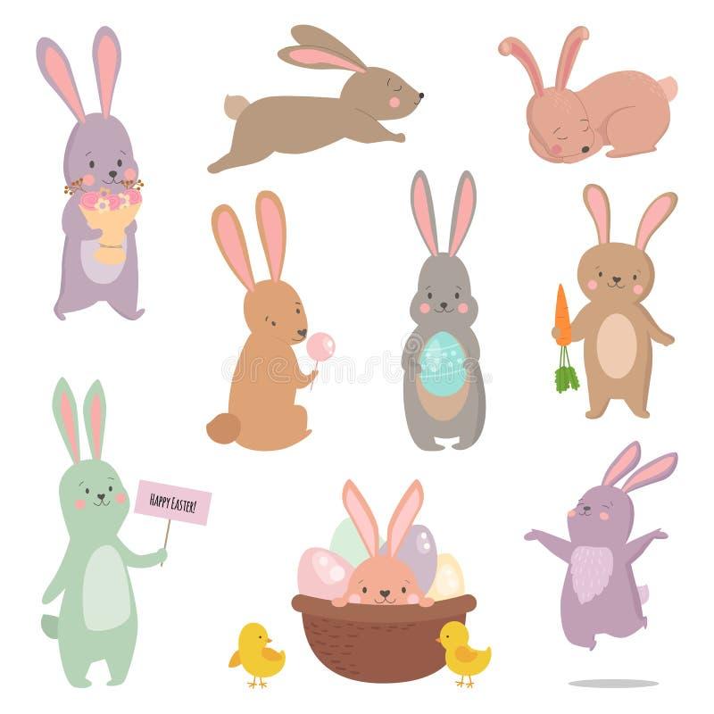 Ensemble différent de vecteur de pose de lapin de caractère de lapin de Pâques illustration stock