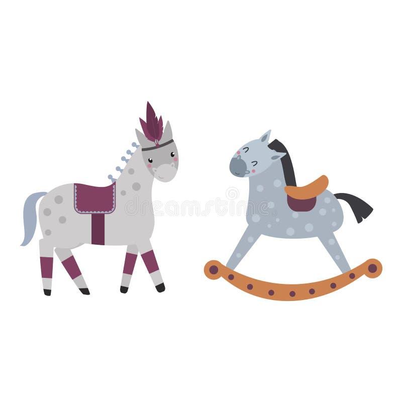 Ensemble différent de vecteur de race de chevaux illustration libre de droits