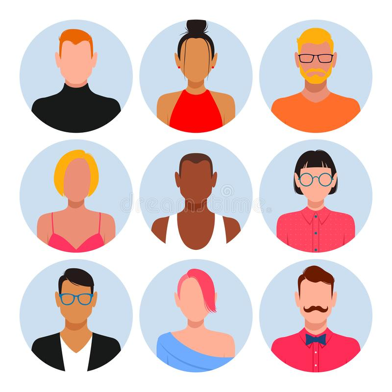 Ensemble divers d'avatar de personnes illustration stock