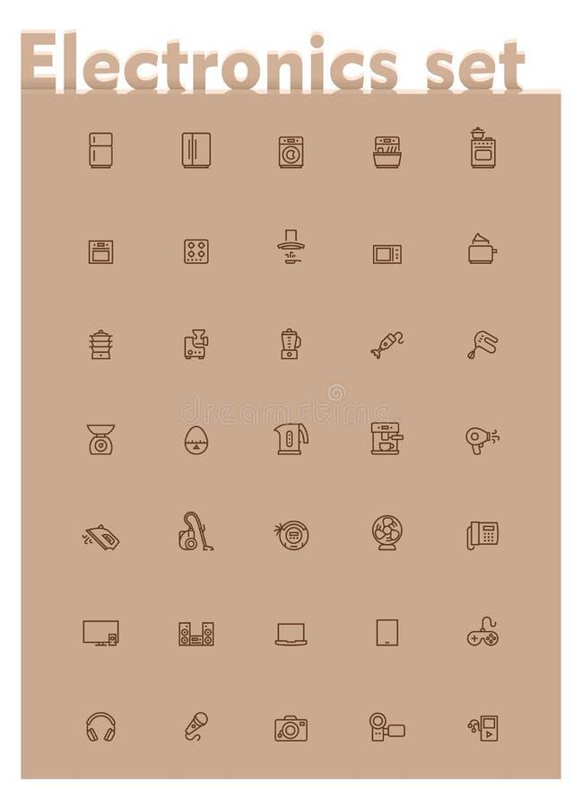 Ensemble domestique d'icône de l'électronique de vecteur illustration de vecteur