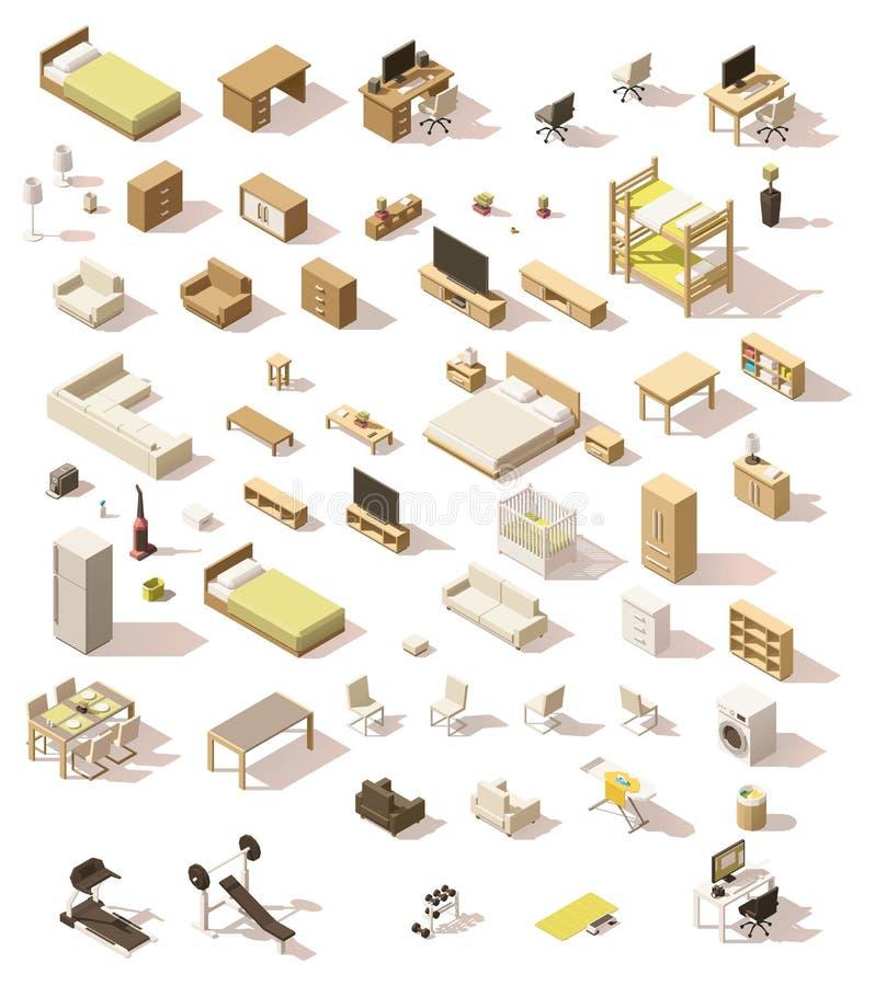 Ensemble domestique isométrique de meubles de vecteur bas poly illustration de vecteur