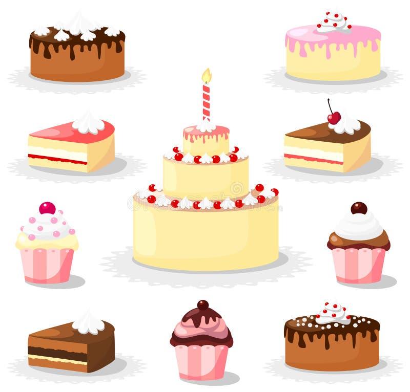 Ensemble doux de gâteau et de petit gâteau, icônes illustration de vecteur