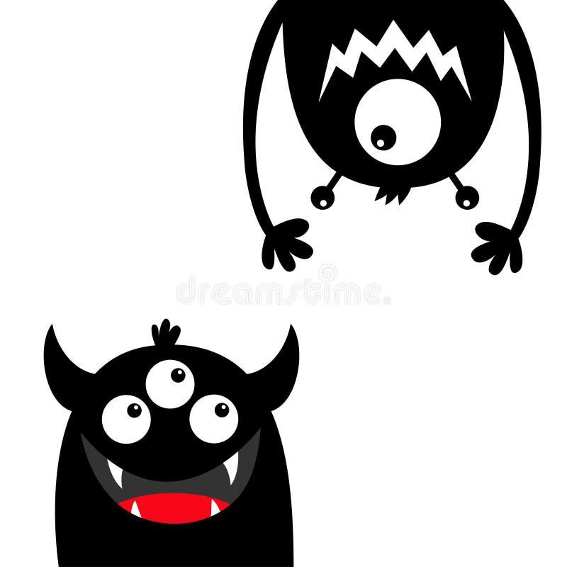Ensemble drôle de monstre Silhouette de noir de tête de visage Mains de langue de croc de dents de yeux Accrocher ? l'envers Cara illustration libre de droits