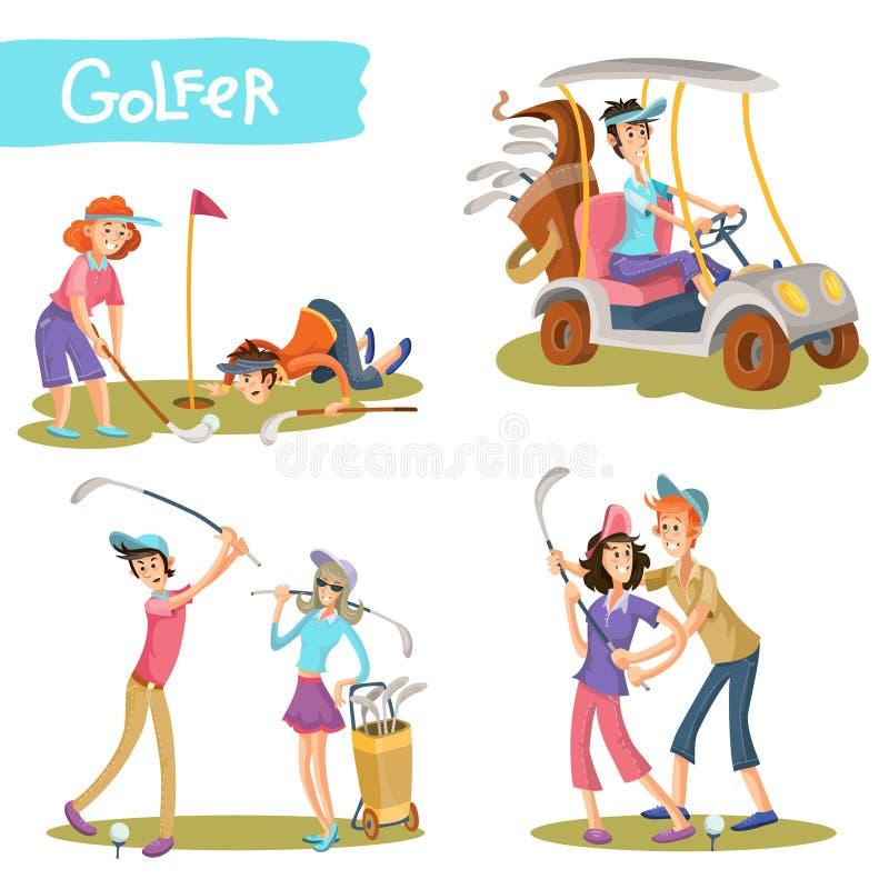 Ensemble drôle de vecteur de personnages de dessin animé de golfeurs illustration de vecteur