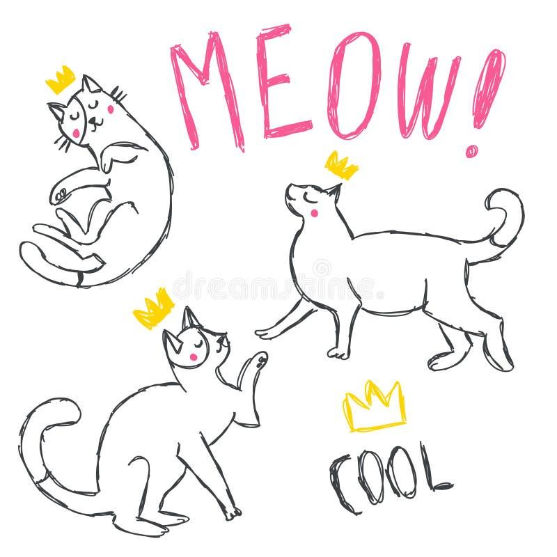 Ensemble drôle mignon de vecteur de chats illustration de vecteur
