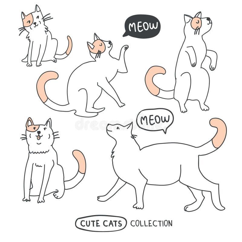Ensemble drôle mignon de vecteur de chats illustration libre de droits