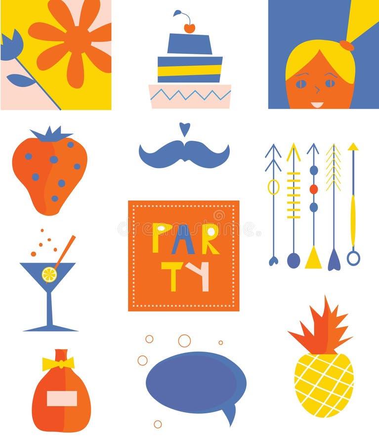 Ensemble drôle d'icônes de partie illustration stock