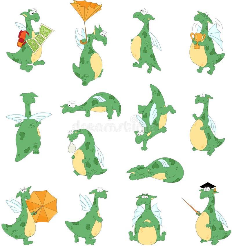 Ensemble drôle de dragon de bande dessinée illustration stock