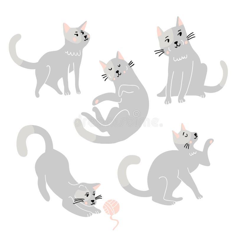 Ensemble dr?le mignon de vecteur de chats illustration stock