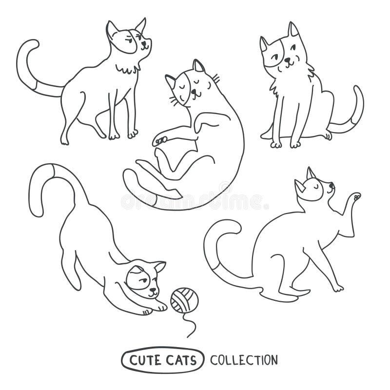Ensemble dr?le mignon de vecteur de chats illustration de vecteur